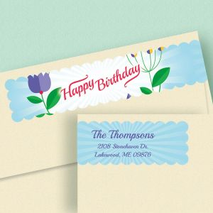 happy birthday address labels ; cheerful-blooms-connect-wrap-diecut-address-labels-4-designs