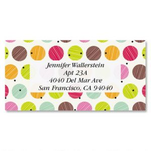 happy birthday address labels ; doodle-dots-border-address-labels