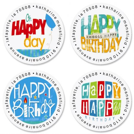 happy birthday address labels ; happy-birthday-round-address-labels-4-designs