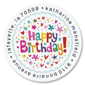 happy birthday address labels ; peppy-birthday-round-address-labels