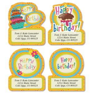 happy birthday address labels ; sweet-birthday-diecut-address-labels-4-designs