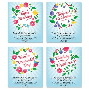 happy birthday address labels ; wreath-blooms-select-address-labels-4-designs