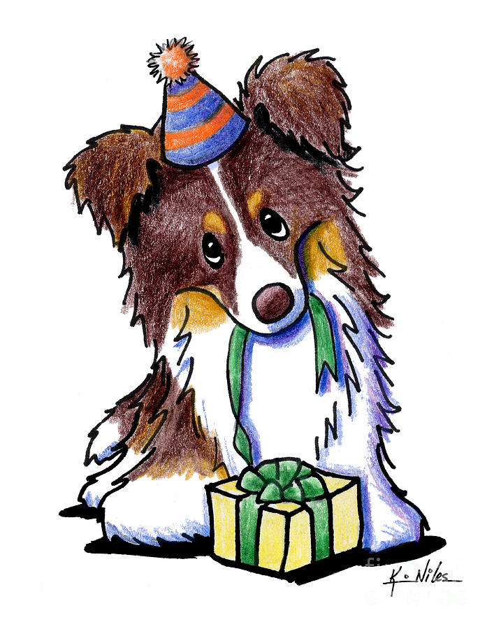 happy birthday border collie ; tri-chocolate-border-collie-kim-niles