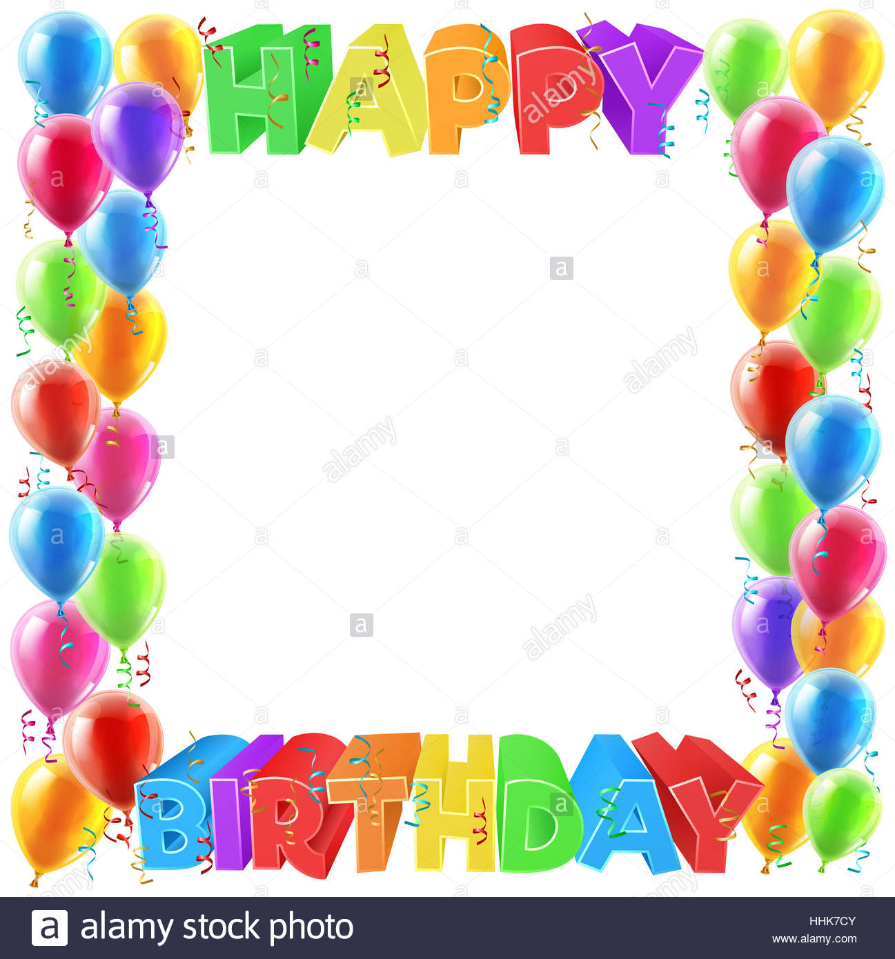 happy birthday border design ; a-balloons-and-happy-birthday-bright-color-word-text-sign-invite-border-HHK7CY