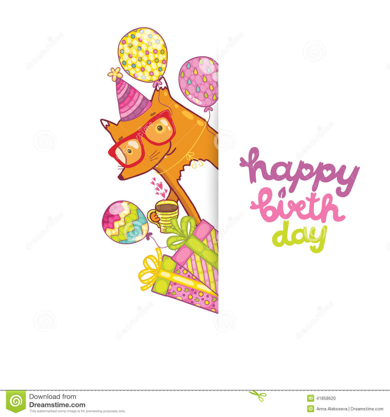 happy birthday border templates ; happy-birthday-card-hipster-fox-background-cute-cartoon-vector-holiday-party-template-greeting-postcard-image-41858620
