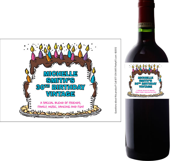 happy birthday bottle labels ; label-wine-birthday01