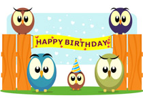 happy birthday cake clipart ; TN_fun-looking-owls-with-birthday-banner-clipart