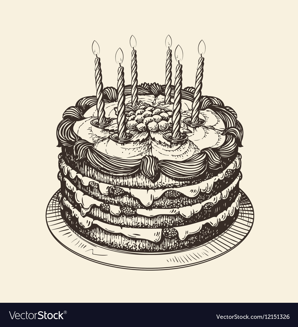 happy birthday cake drawing ; happy-birthday-cake-with-burning-candles-sketch-vector-12151326
