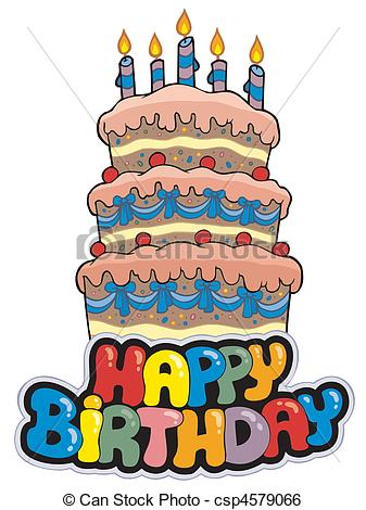 happy birthday cake drawing ; happy-birthday-sign-with-tall-cake-clip-art-vector_csp4579066
