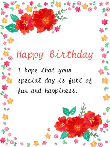 happy birthday card borders ; hand-painted-style-flower-birthday-card-flowers-design-borders-and-large-red-sides-simple-wishes-and-greeting-card-type-birthday-card-pics