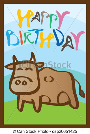 happy birthday card clipart ; happy-birthday-card-with-cow-illustration_csp20651425