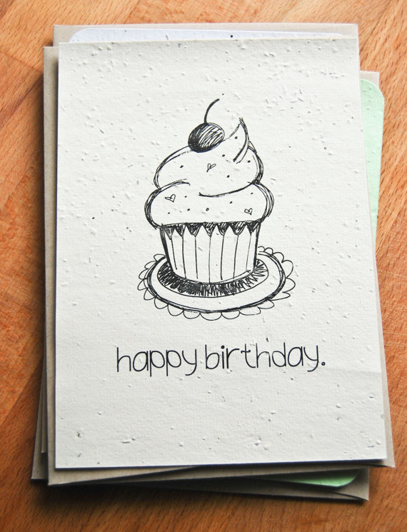happy birthday card drawing ideas ; plantable-seed-paper-happy-birthday-card-hand-illustrated-cupcake-premium-drawing-birthday-card-ideas