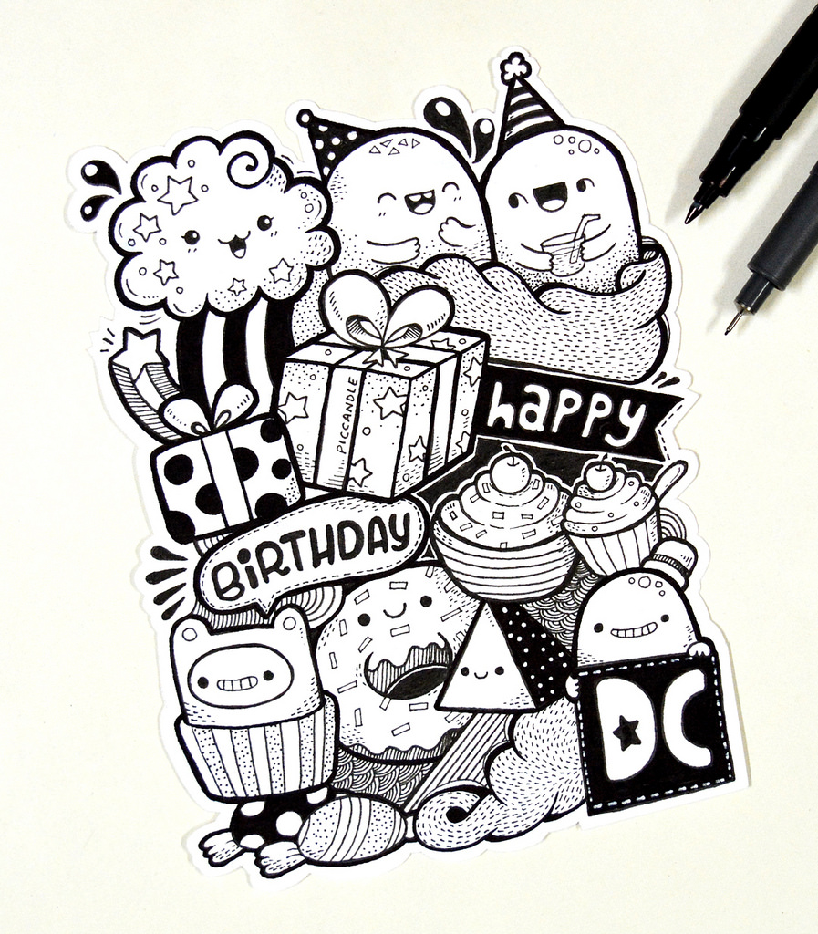 happy birthday design drawing ; 22521154725_7b51572232_b