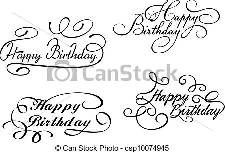 happy birthday design drawing ; happy-birthday-calligraphic-eps-vector_csp10074945