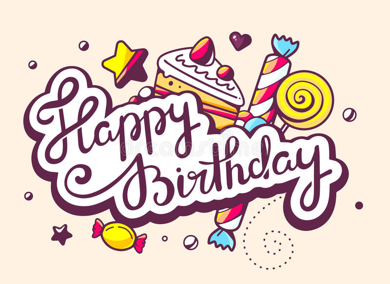 happy birthday design drawing ; illustration-calligraphy-text-happy-birthday-swee-sweets-light-background-hand-draw-line-art-design-web-site-54139771