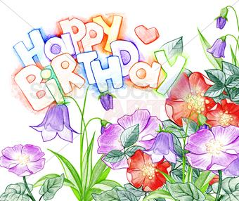 happy birthday design drawing ; stock-photo-varicolored-hand-drawn-sketch-happy-birthday-greeting-with-flowers-on-white-horizontal-1642984