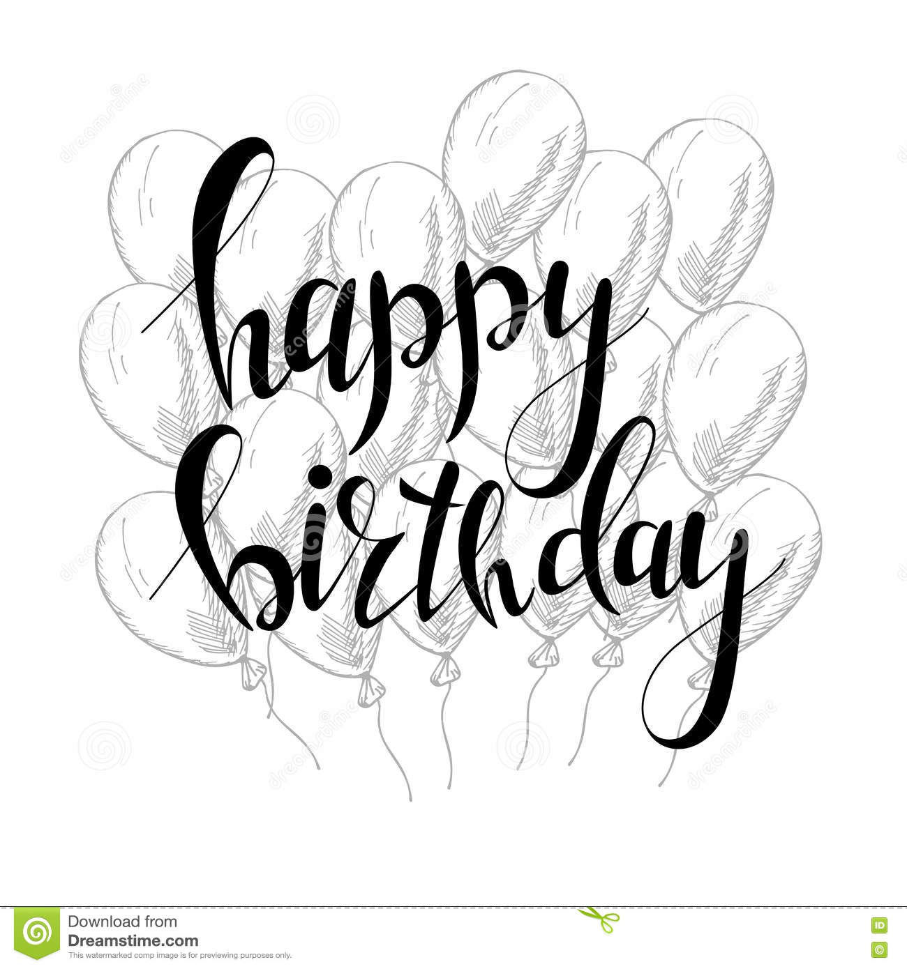 happy birthday design drawing ; vector-hand-lettering-happy-birthday-greeting-card-calligraphy-design-black-white-overlay-73819419