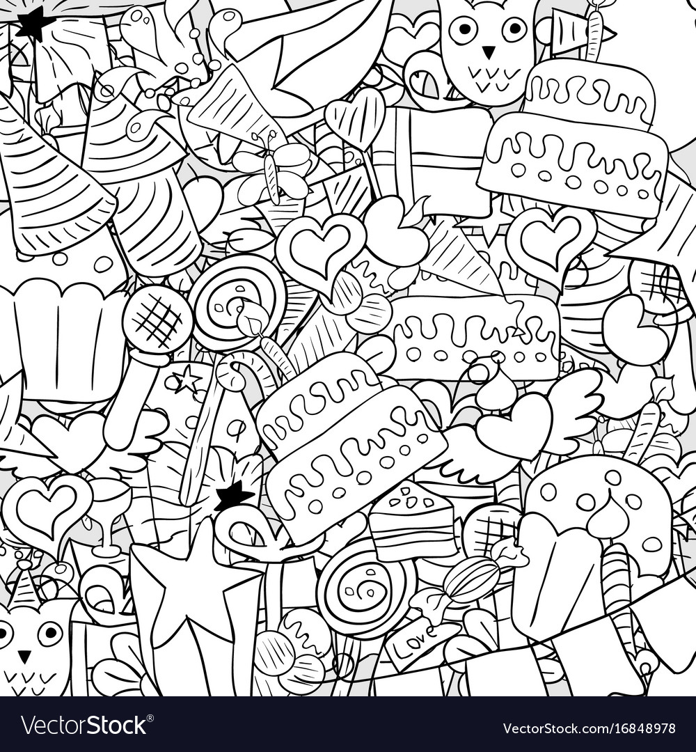 happy birthday drawing ; happy-birthday-doodles-background-drawing-by-hand-vector-16848978