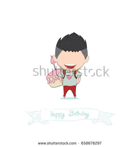 happy birthday drawing ; stock-vector-boy-with-birthday-cupcake-happy-birthday-drawing-by-hand-vector-658678297