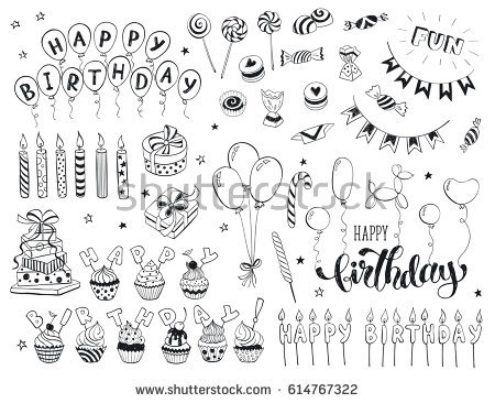 happy birthday drawing designs ; stock-vector-happy-birthday-celebration-doodle-icons-collection-isolated-on-white-background-hand-drawn-614767322