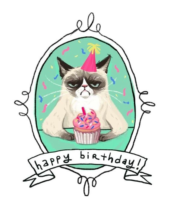 happy birthday drawing ideas ; cat-birthday-card-rectangle-potrait-white-green-cat-with-cupcake-picture-happy-birthday-drawing-of-grumpy-cat-pinterest-collection