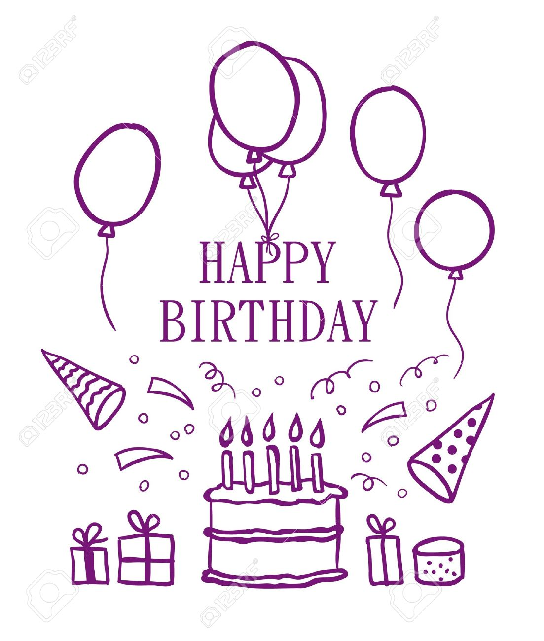 happy birthday drawing pictures ; 14760901-happy-birthday-doodle-elements-vector