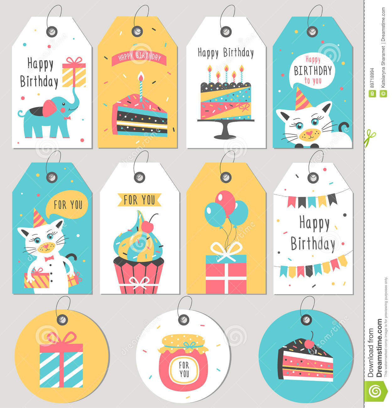 happy birthday gift labels ; set-happy-birthday-gift-tags-cards-vector-illustration-89718994
