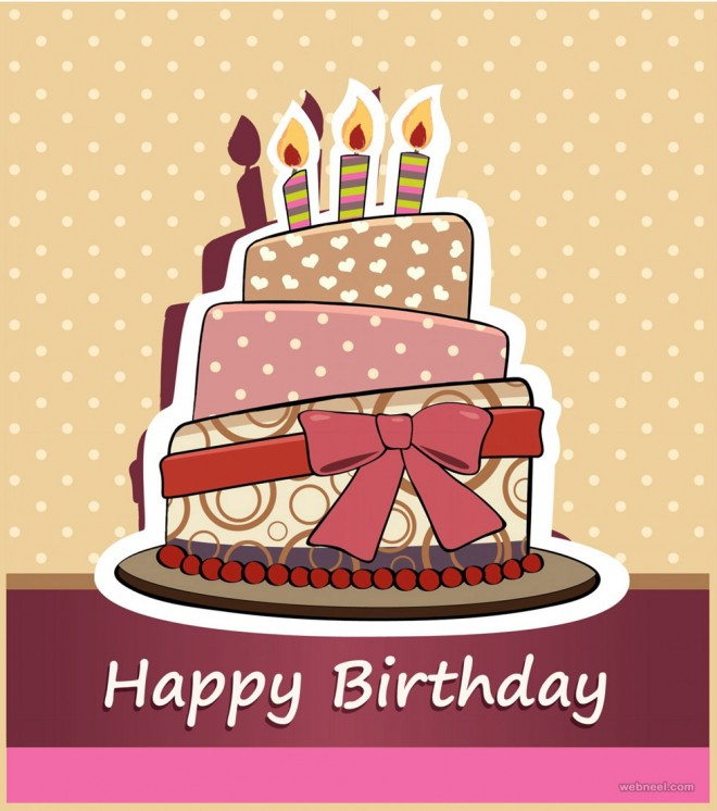 happy birthday greeting card design ; 6-birthday-greetings-card-design-cake-vector