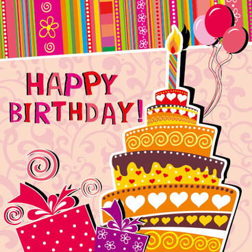 happy birthday greeting card design ; funny_cartoon_happy_birthday_cards_vector_551083