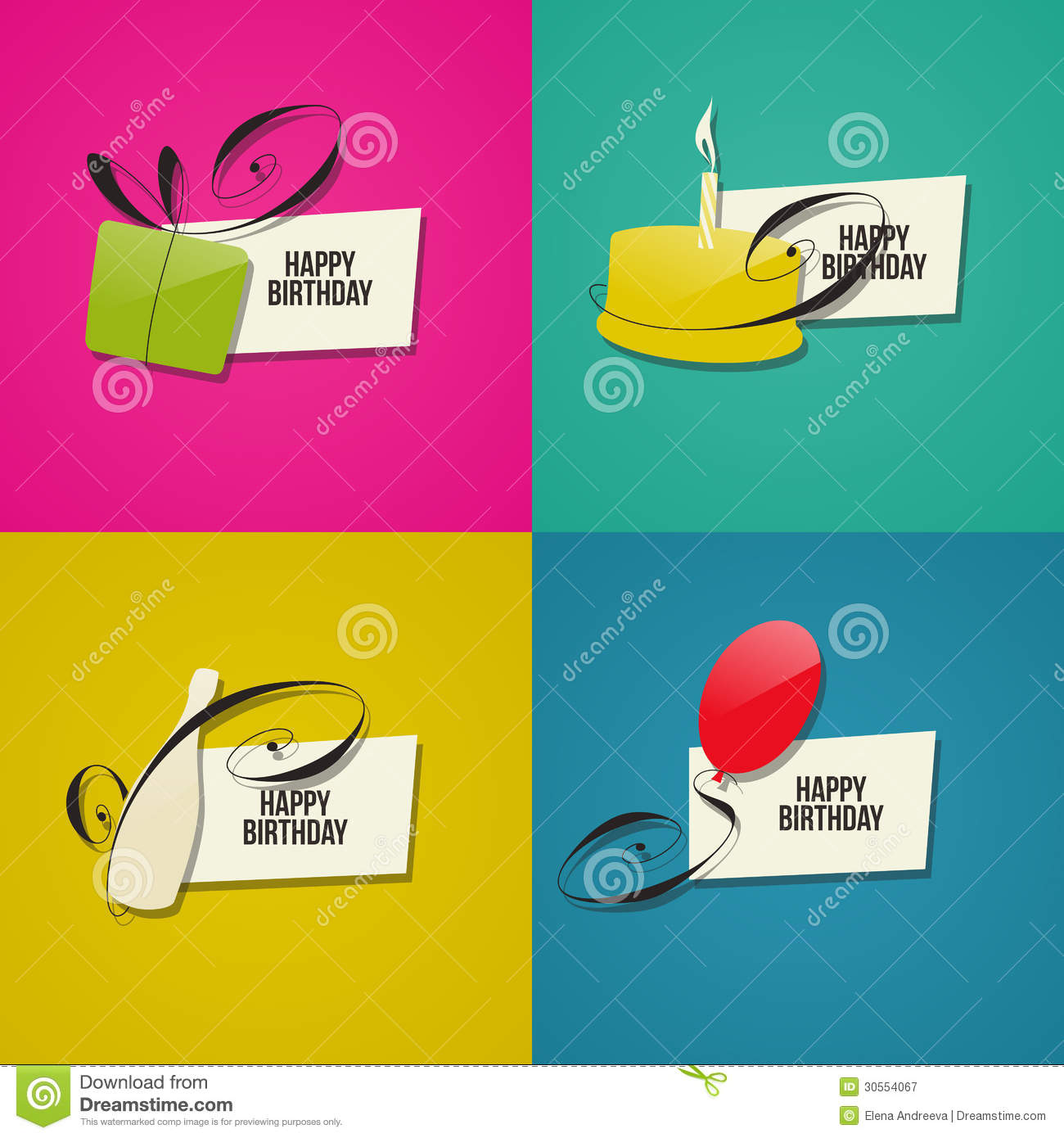 happy birthday greeting card design ; happy-birthday-greeting-cards-set-design-elements-30554067