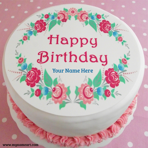 happy birthday images with name and photo ; happy-birthday-flower-cake-image