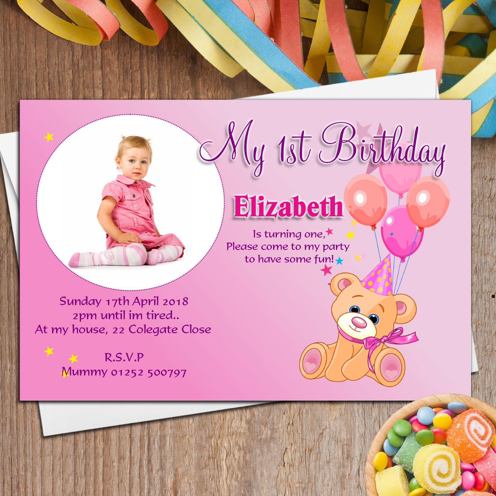 happy birthday invitation card design ; Birthday-Invitation-Cards-Personalized-Teddy-Party-For-Girl