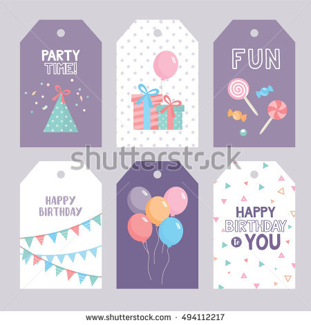 happy birthday label template ; stock-vector-set-of-birthday-labels-template-with-funny-illustration-and-typography-birthday-concept-candy-494112217