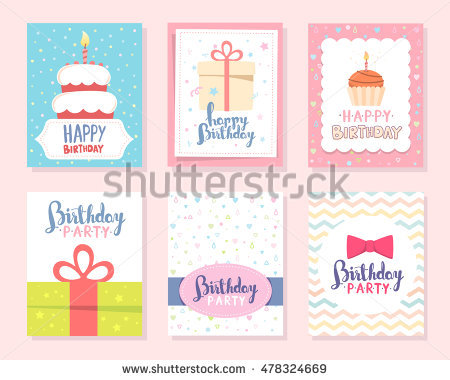 happy birthday label template ; stock-vector-vector-set-of-colorful-illustration-happy-birthday-template-poster-with-cake-with-candle-bow-tie-478324669