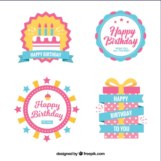 happy birthday labels free ; set-of-birthday-labels-in-flat-design_23-2147606065