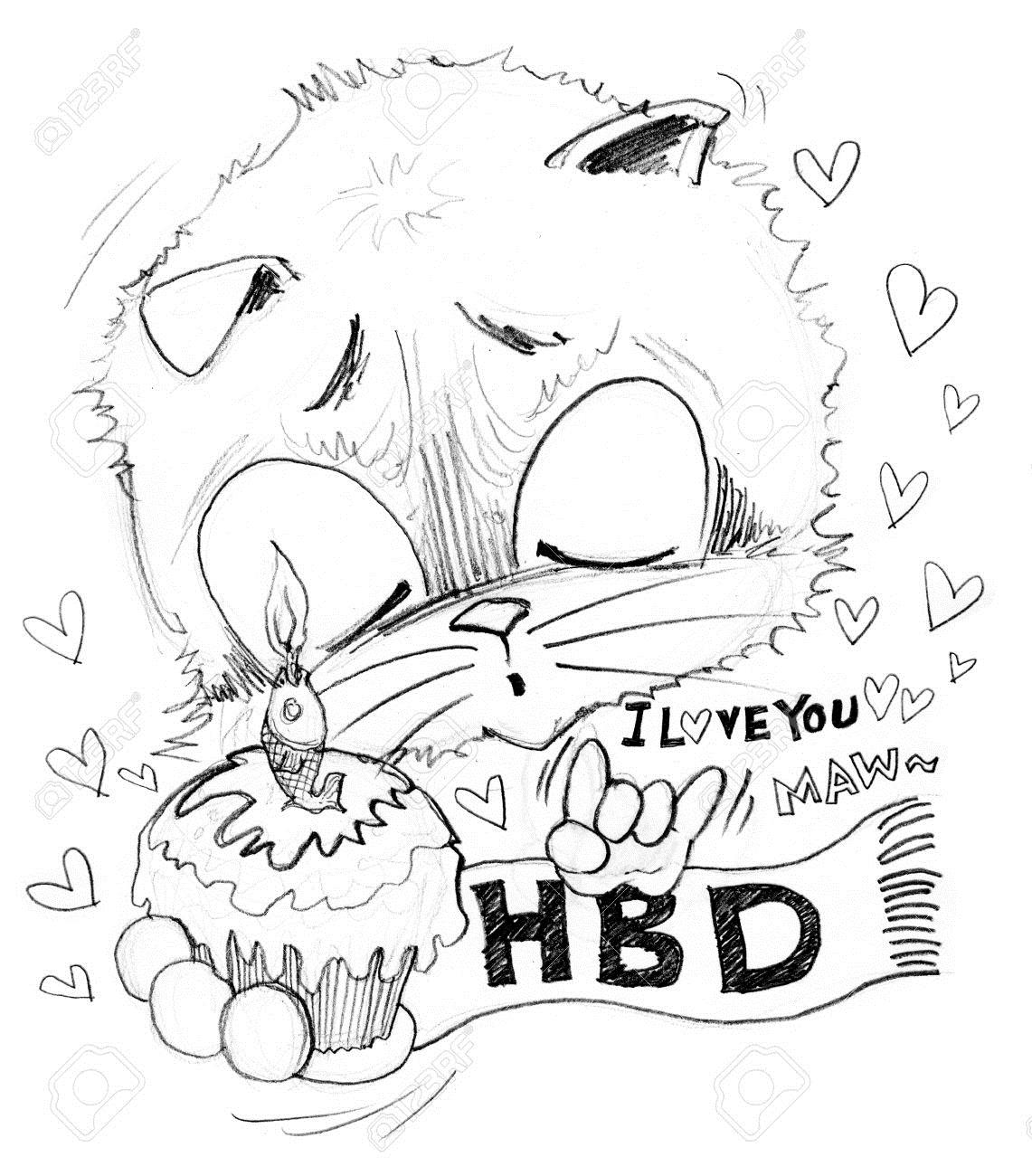 happy birthday pencil drawing ; 73101182-happy-birthday-and-i-love-you-he-surprise-with-girl-friend-very-cute-acting-cat-cartoon-cute-charact-Stock-Photo