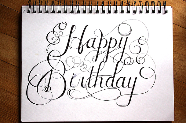 happy birthday pencil drawing ; happy-birthday-hand-lettering-beckynimoy-20131