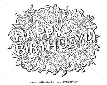 happy birthday pencil drawing ; stock-vector-doodles-happy-birthday-vector-abstract-ethnic-elements-birthday-anniversary-baby-shower-concept-426732517