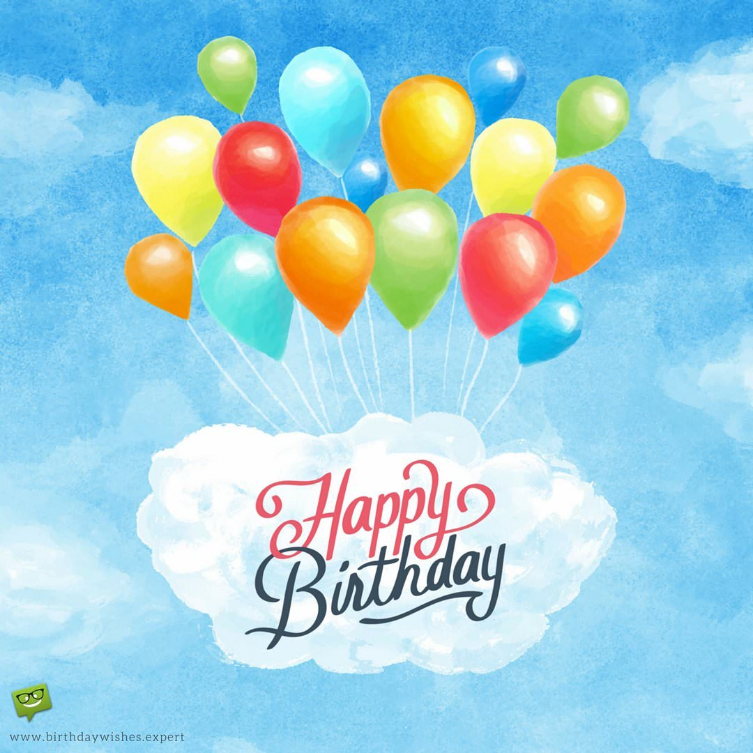 happy birthday pictures and wishes ; Happy-Birthday-wish-for-a-friend-on-image-with-watercolor-painting-of-balloons-1