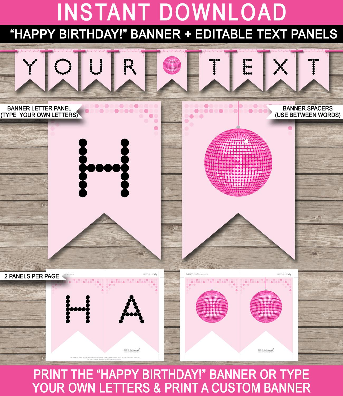 happy birthday poster template ; Dance-Disco-Banners-Editable-And-Printable-Templates-Pink-G
