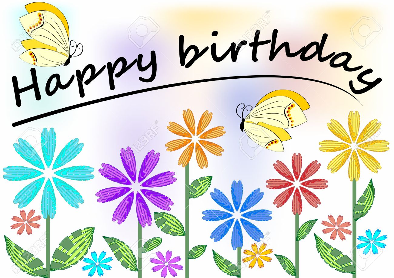 happy birthday poster with photo ; 40866833-happy-birthday-poster-with-colorful-flowers-and-butterflies-vector