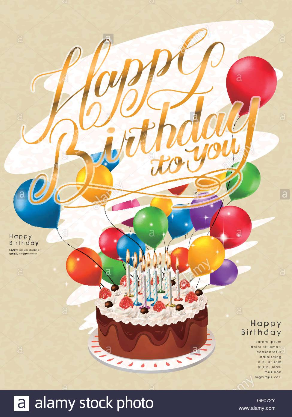 happy birthday poster with photo ; happy-birthday-poster-template-design-with-lovely-cake-and-balloons-G9072Y