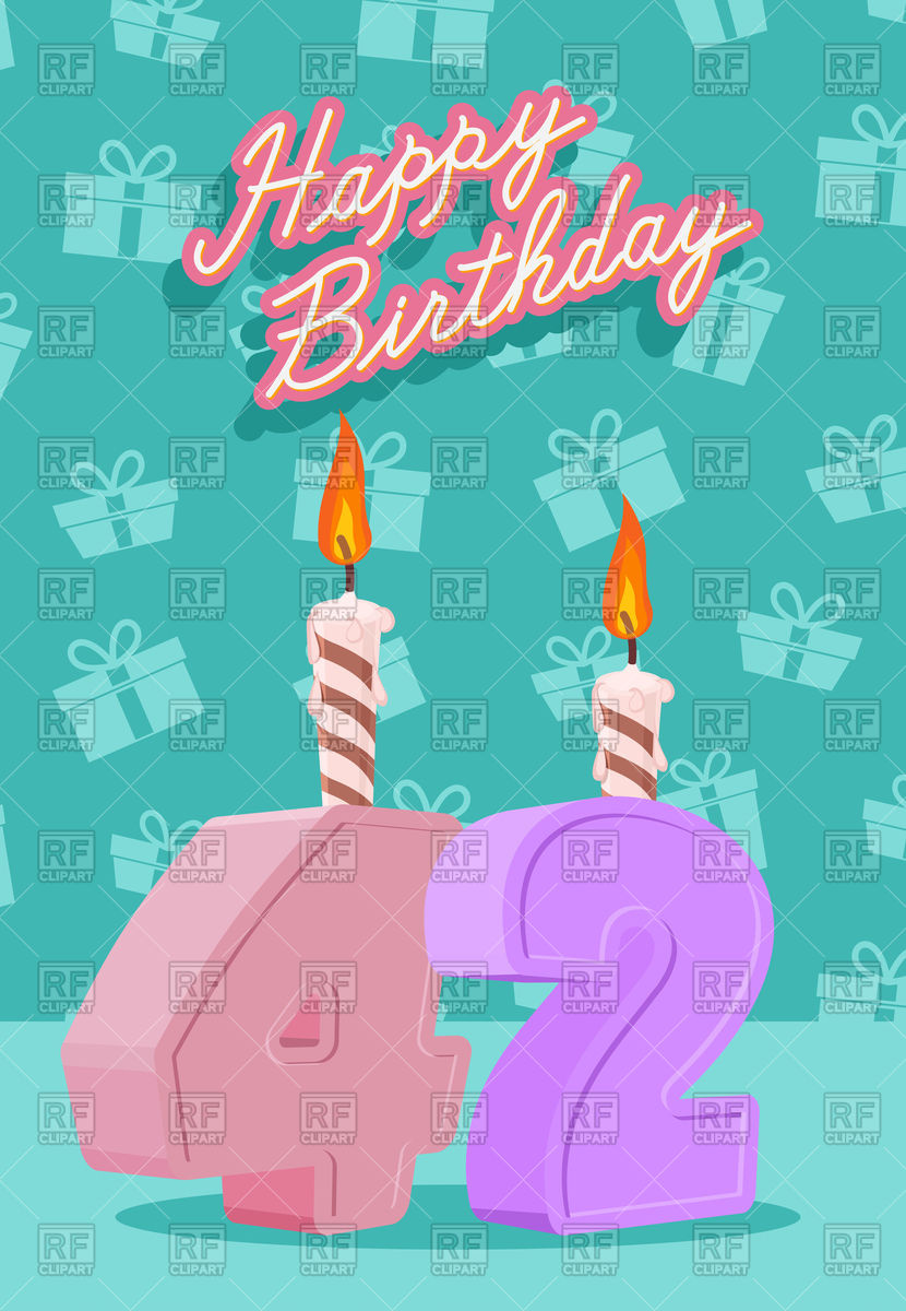 happy birthday poster with photo ; happy-birthday-poster-with-candles-and-number-42-Download-Royalty-free-Vector-File-EPS-264505