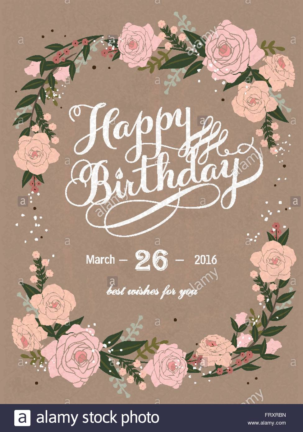 happy birthday poster with photo ; romantic-happy-birthday-calligraphy-and-poster-design-with-floral-FRXRBN