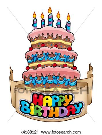 happy birthday theme pictures ; happy-birthday-theme-with-tall-cake-clipart__k4588521
