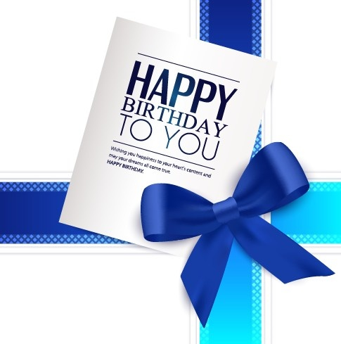 happy birthday wishes card with photo ; happy_birthday_greeting_card_with_bow_vector_542645
