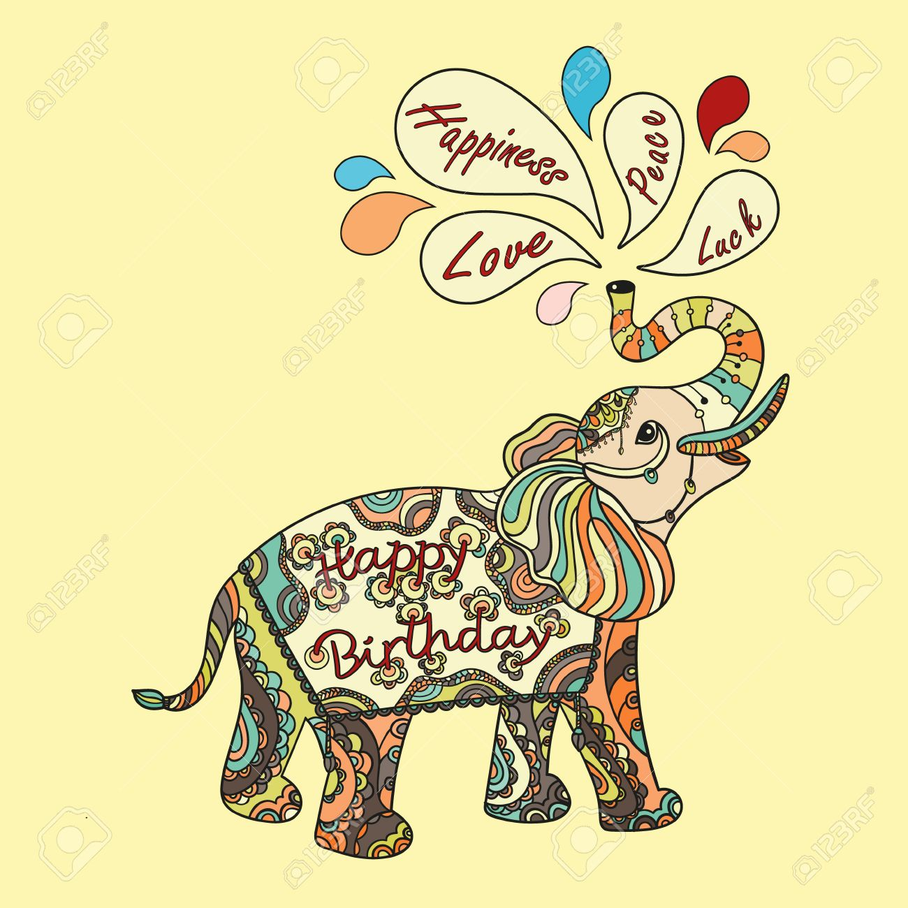 happy birthday wishes clipart ; 59613599-happy-birthday-greeting-card-with-wishes-and-fantasy-patterned-elephant-ethnic-tribal-styled-pattern
