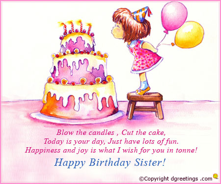 happy birthday wishes for little sister message ; below-the-candles