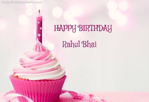 happy birthday wishes message to friend in hindi ; happy-birthday-cupcake-candle-pink-cake-for-rahul-bhai