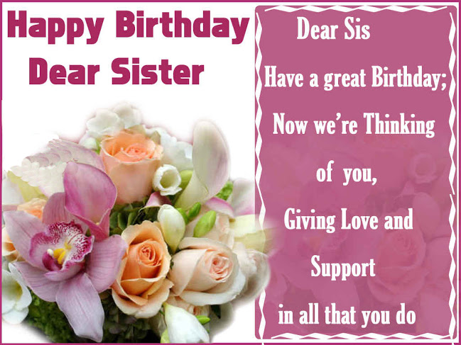 happy birthday wishes message to sister ; 4be7653aa1921471995dcc9f30f8bf5a